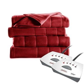 Sunbeam Quilted Fleece Electric Blanket, King, Garnet