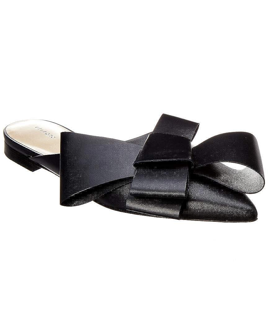 2ef17f4d0a736 Amazon.com | Delpozo Bow Leather Flat Mule, 37.5, Black | Mules & Clogs