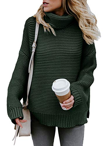 ZKESS Womens Casual Long Sleeve Turtleneck Knit Pullover Sweater (Small/4-6, Dark Green)