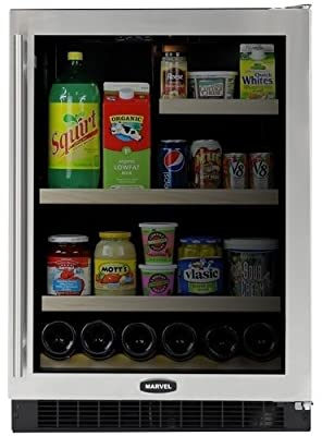 Marvel 6GARM-BS-G-R 24-inch Refrigerator and Beverage Center Right Hinge Door, Glass with Stainless Steel Trim