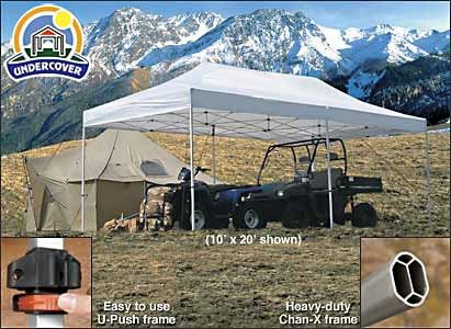 Aluminum Frame Ez Up Canopy - Undercover Canopy Professional Popup Shade, 10 x 20