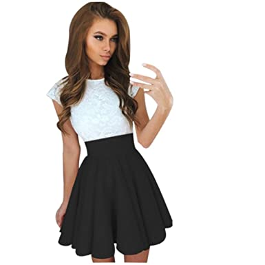 3a38fed6fffb Kangma Women Summer Lace Party Cocktail Ladies Mini Skater Skirt Short  Sleeve Dresses Black