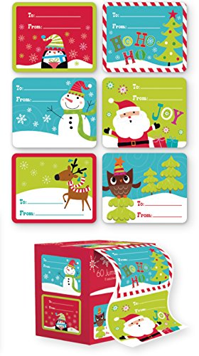 Self Stick Christmas Gift Tags - 60 Jumbo Self Adhesive Christmas Gift Tags Labels in Easy To Use Roll Just Pull & Place