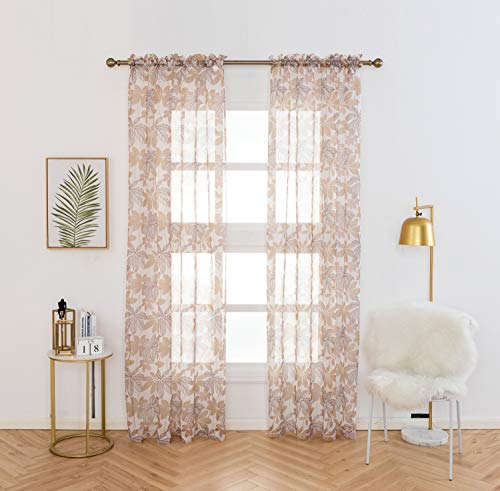 """Anjee Leaf Sheer Curtains 96 inches Long, Bedroom Window Drapes Living Room Rod Pocket Top Voile Drapery Floral Curtains Sheers 52"""" W X 96"""" L, 2 Panels Set, Yellow"""