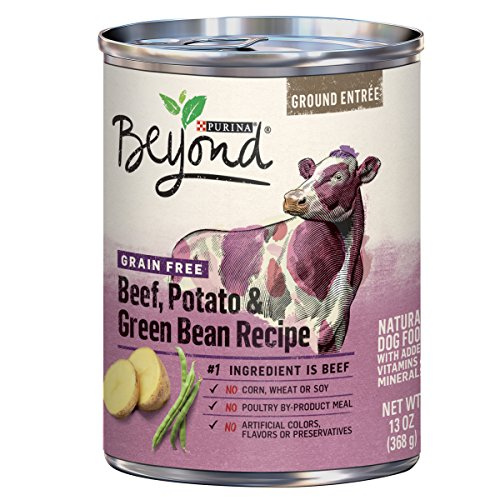 Purina Beyond Grain Free Natural, Beef, Potato & Green Bean Recipe Ground Entrée Canned Dog Food, 13 oz, case of 12 For Sale