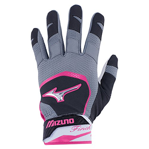 Mizuno Finch Adult Women's Fastpitch Softball Batting Gloves, Small, Black/Pink