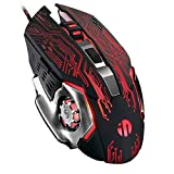 Inphic Gaming Mouse, USB Optical Wired PC Laptop Computer Gaming Mouse 4800DPI Ergonomic Mice with 6 Programmable Buttons,4 DPI Adjustment, RGB Breathing LED, Tech Black