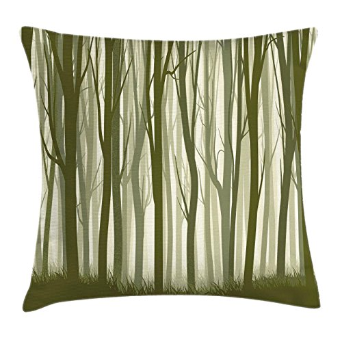 Apartment Decor Throw Pillow Cushion Cover by Ambesonne, Mother Nature Theme Illustration of Mystic Forest with Trees, Decorative Square Accent Pillow Case, 18 X18 Inches, Army Green and Sage (Forest Green Sage)