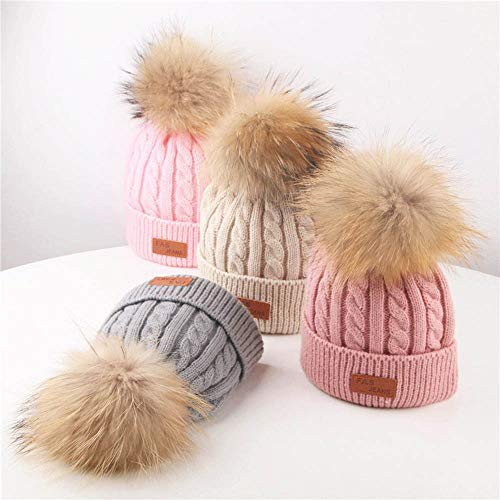 a8b060e378b Amazon.com  WARMSHOP Baby Hat Cute Hairball Kids Cuff Knit Beanie Lovely  Winter Warm Crochet Cap for Boys Girls 2-8 Years (2-8 Years Old