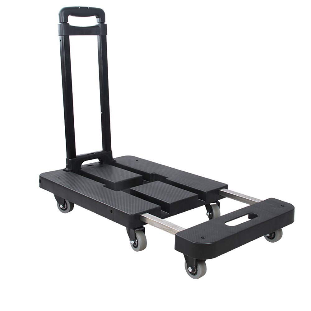 Carrying Trolley Folding Flat Pull Truck Hand Cart Home Portable Luggage Cart Mute Trolley Car XBSTC Small Trailer Color : Black