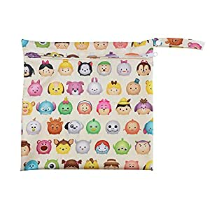 Baiyu Waterproof zipper Baby Diaper Bag Washable Reusable Wet and Dry Infant Cloth Nappy Bag Storage Cosmetic Bag Size 30.530cm--Cartoon Head Portrait Pattern