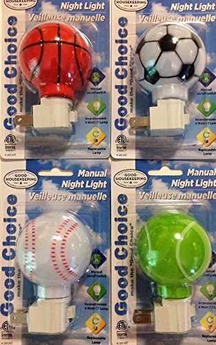 Good Choice Manual Sports Night Lights, Basketball, Baseball, Soccer and Tennis, 4-pc Set by Good Housekeeping