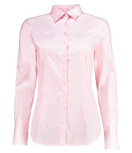 98549921 HAWES & CURTIS Womens Executive Light Pink Twill Fitted Shirt ...