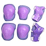 eNilecor Kid's Knee Pads Elbow Pads Wrist Guards for Skateboarding Cycling Inline Skating Roller Blading Protective Gear Pack of 6 (Purple)