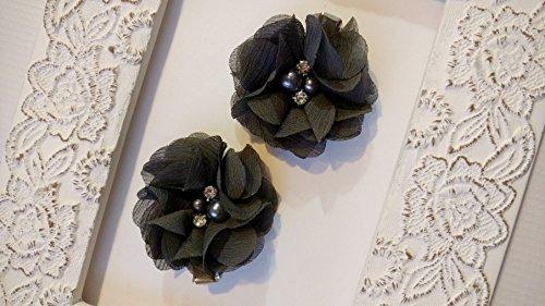 Chiffon Flower Rhinestone Charcoal Hairclip