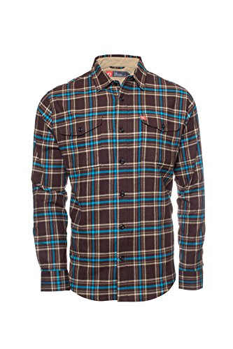 Redhead 5 Pocket (American Outdoorsman The Montana Everyday Flannel Shirt (Large, Brown Teal))
