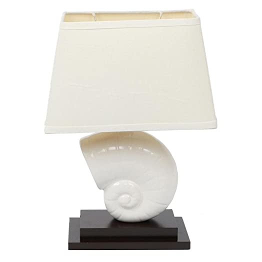 Decorative Nautilus Shell Table Lamp With Linen Fabric Shade, White Ceramic Seashell and Dark Red Wood Base, for Bedroom or Living Room