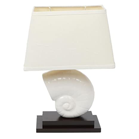 Decorative nautilus shell table lamp with linen fabric shade white decorative nautilus shell table lamp with linen fabric shade white ceramic seashell and dark red aloadofball Images