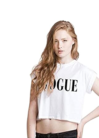 b0aff2a97d140f Vogue Crop Top T Shirt Tumblr Hipster Dope Swag Tee Tumblr Coco Celine  Feline White S - Uk 8 10  Amazon.co.uk  Clothing