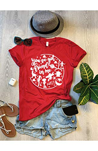 Small/Canvas Red/You've Got A Friend In Me/Disney Inspired Shirt/Disney Toy Story Shirt/Cold Season Shirt/Free Shipping/Screen Printed With Eco Ink/Unisex Fit/