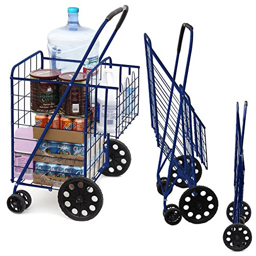 MOD Complete MDC77037B Portable Double Basket Flat Folding Shopping Cart with Swivel Wheels, Blue
