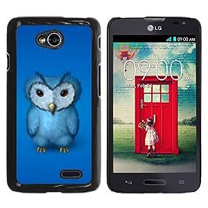 TECHCASE**Cubierta de la caja de protección la piel dura para el ** LG Optimus L70 / LS620 / D325 / MS323 ** Blue Owl Furry Baby Bird Grumpy Drawing Art