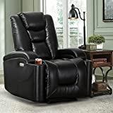 CANMOV Electric Power Recliner Chair with 90°-145°Adjustable Back Angle, USB Charger, 2 Cup Holders and Storage Bag Bonded Leather Modern Living Room Sofa Chair, Black