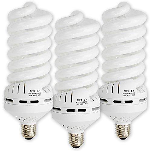70w Cfl (Fotodiox 3x 70 Watt Daylight Compact Fluorescent (CFL) Light Bulbs, Set of Three (3) - Full Spectrum (5400k)