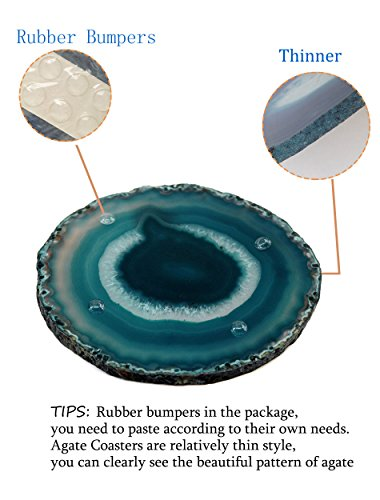 AMOYSTONE Teal Agate Coaster 3.5-4'' Dyed Sliced Genuine Brazilian Teal Agate Drink Coasters with Rubber Bumper Set of 4 by AMOYSTONE (Image #5)
