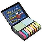 Teacher Peach Strive for Progress Sticky Note and Page Marker Box Set - Inspirational Holder and Organizer of Self Stick Note Cards & Book Flags - Best as Motivational Office Gift for Men Or Women
