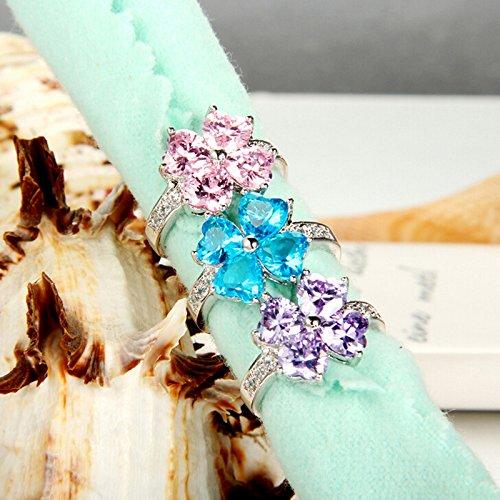 B.Z La Vie Bague Femme elegant Cristal multicolore trefle a 4 feuille