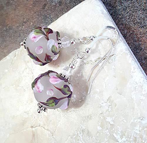 Floral Lampwork Glass Earrings Sterling Silver