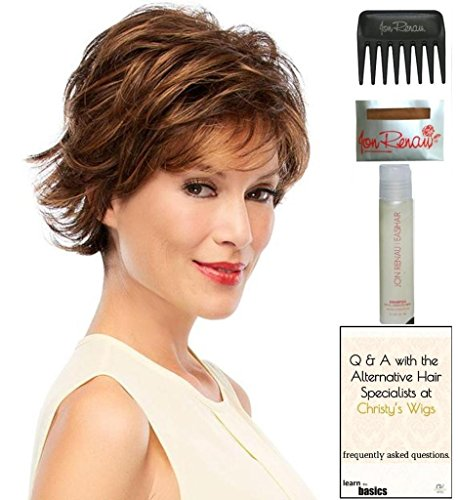 Jazz MONO TOP Wig by Jon Renau, 15 Page Christy's Wigs Q & A Booklet, 2oz Travel Size Wig Shampoo, Wig Cap & Wide Tooth Comb COLOR SELECTED: 6