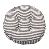 alibala Cotton Linen Round Chair Cushion | Autumn and Winter Padded Round Stool Soft Cushion Simple Dormitory Futon Chair Pads 18 x 18 Inches, Coffee Stripe