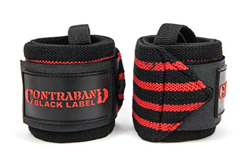 Contraband Black Label 1001 Weight Lifting Wrist Wraps w/Thumb Loops (Pair) - Competition Grade Wrist Support USPA Approved for Powerlifting, Bodybuilding, Strongman (18in, Light (RED))