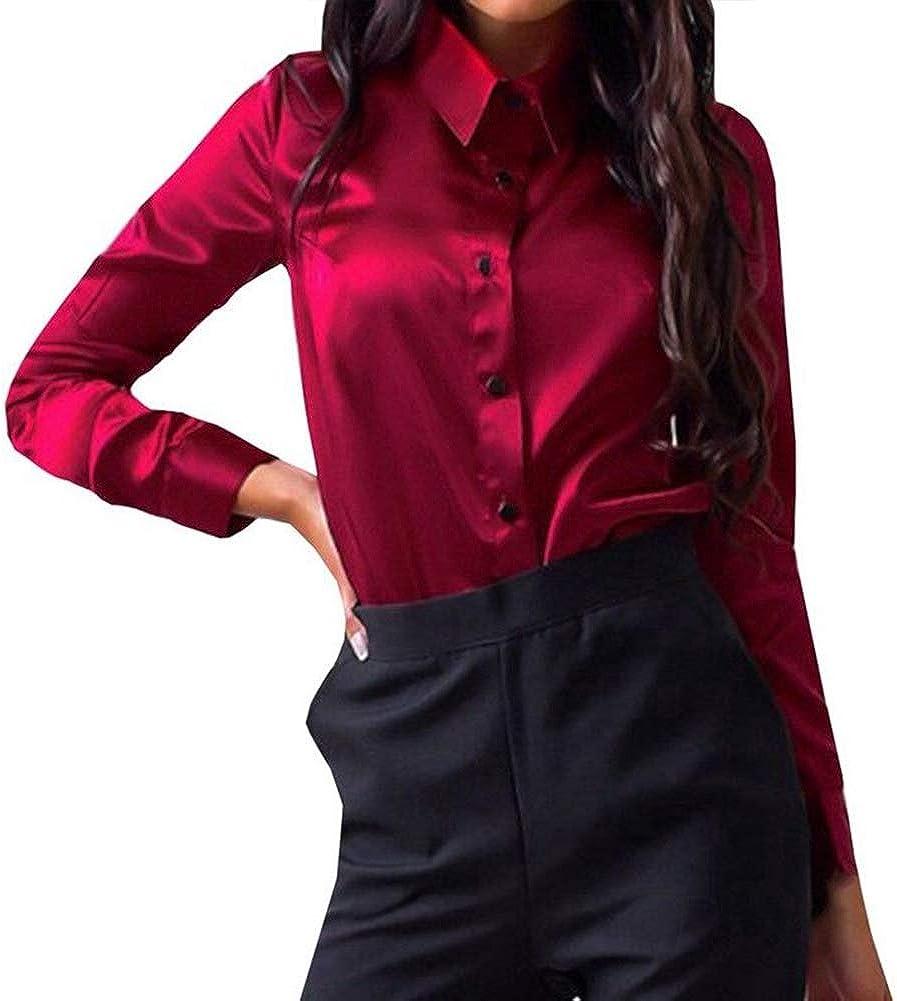 Blusa de satén de color puro con cuello abotonado y mangas largas para mujer Rosa rosa L: Amazon.es: Ropa y accesorios