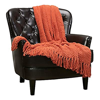 Chanasya Textured Knitted Super Soft Throw Blanket with Tassels Warm Plush Lightweight Fluffy Woven Blanket for Bed Sofa Couch Cover Living Bed Room Burnt Orange Throw Blanket (50x65 Inches) Rust - SUPER SOFT & COZY: Get cozy and warm with this soft and lightweight knitted throw blanket, perfect for snuggling up on the couch, bed, chilly movie theater, park or perfect personal gift for any occasion CLASSY DECOR: Add extra texture to your decor and turns your room into an inviting space with this simple yet classy elegant knitted design; drape it over a chair, couch or bed to add an exotic stylish touch to your living room or bedroom. Our available colors allow for easy mixing and matching with your decor or other accent pieces BLANKET SIZE: 50x65 Inches, suitable for couch, sofa and toddler bed; fabric content: 30% acrylic, 70% polyester throw blanket - blankets-throws, bedroom-sheets-comforters, bedroom - 51YAplupPaL. SS400  -