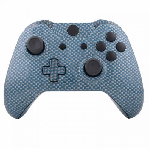 Microsoft Xbox Faceplates Carbon (ModFreakz™ Shell Kit Hydro Dipped Blue Silver Carbon Fiber For Xbox One Model 1537 Controllers)