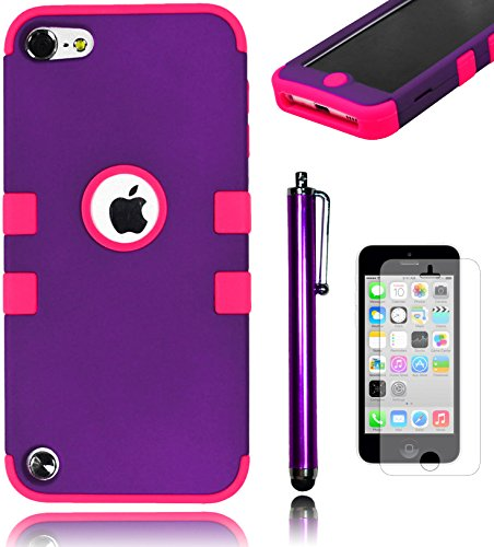 Bastex Heavy Duty Hybrid Case for Apple iPod Touch 5 & 6 - Purple TUFF Design Cover with Soft Hot Pink Silicone ShellINCLUDES Screen Protector and Stylus [Compatible with iPod Touch 6]