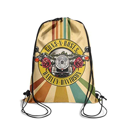 BETTERHLL Best Drawstring Backpack Bag Guns-N'-Roses-Logo-Harley-Davidson- String Bag Gym Bag