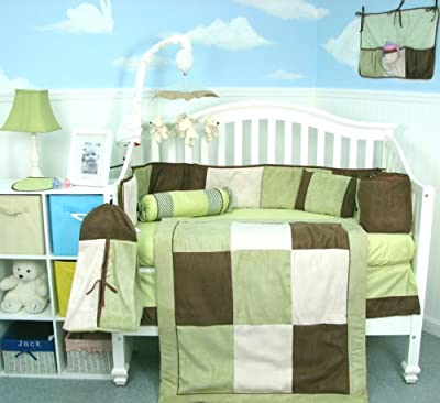 Soho Sage Brown Suede 10 Pcs Baby Crib Bedding Set from SoHo Designs
