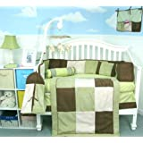 Soho Sage & Brown Suede Baby Crib Nursery Bedding Set 13 pcs included Diaper Bag with Changing Pad & Bottle Case