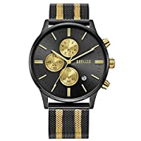 BAOGELA Luxury Mens Gold Stainless Steel Watches with Chronograph Waterproof Date, Black and Gold Dial