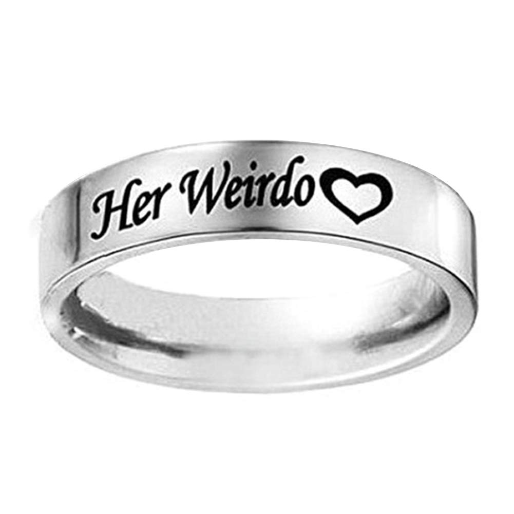 Acamifashion 1Pc His Crazy Her Weirdo Wedding Engagement Letter Print Couple Ring Jewelry - Silver 9 Her Weirdo
