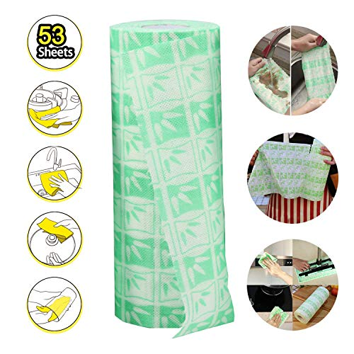 Disposable Bamboo Fiber Cleaning Wipes, Multi-Use Reusable Cloths, Kitchen Disposable Dish Cloths with Strong Oil Absorption, No Fading & No Lint by ZSPENG(53Pcs)