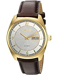 Seiko Mens Recraft Series Japanese Automatic Brown Leather Dress Watch (Model: SNKN70)