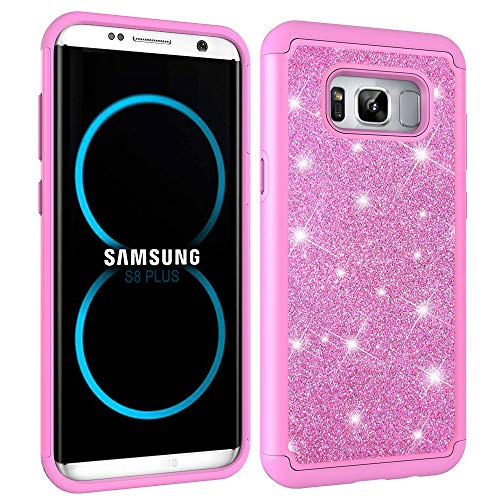 NVWA Compatible Samsung Galaxy S8 Plus Case, S8+ Case [Heavy Duty] Tough Dual Layer 2 in 1 Rugged Rubber Silicone Hybrid Hard Plastic Soft TPU Back Glitter Powder Bling Protective Cover - Pink