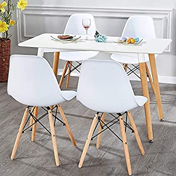 ,Easy Assemble for Kitchen Dining Room,Living Room,Bedroom White Set of 4 VECELO Mid Century Modern Eames Style Dining Chair Side Chairs with Natural Wood Legs