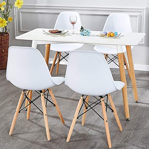 VECELO Mid Century Modern Style Side Chairs with Natural Wood Legs (Set of 4) Easy Assemble for Kitchen Dining, Living Room,Bedroom, Standard, White by VECELO (Image #7)