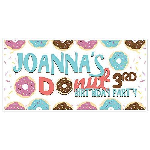 Donut Birthday Banner Personalized Party Backdrop Decoration